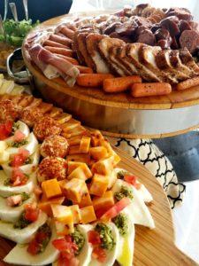 sliced meat and vegetable display br caterer
