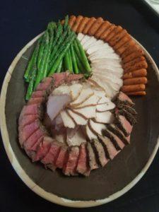 sliced meats and veggie display