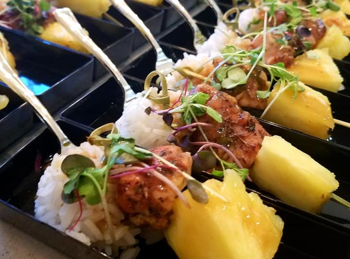 Chicken pineapple satay over Jasmine coconut rice