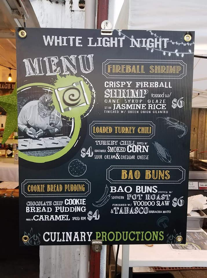 Culinary Productions Menu for White Night Light
