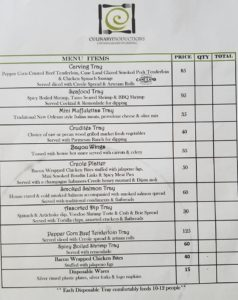 Mari Gras Tray Menu 2020