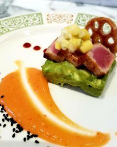 Seared ahi tuna and avocado with mango pico de gallo