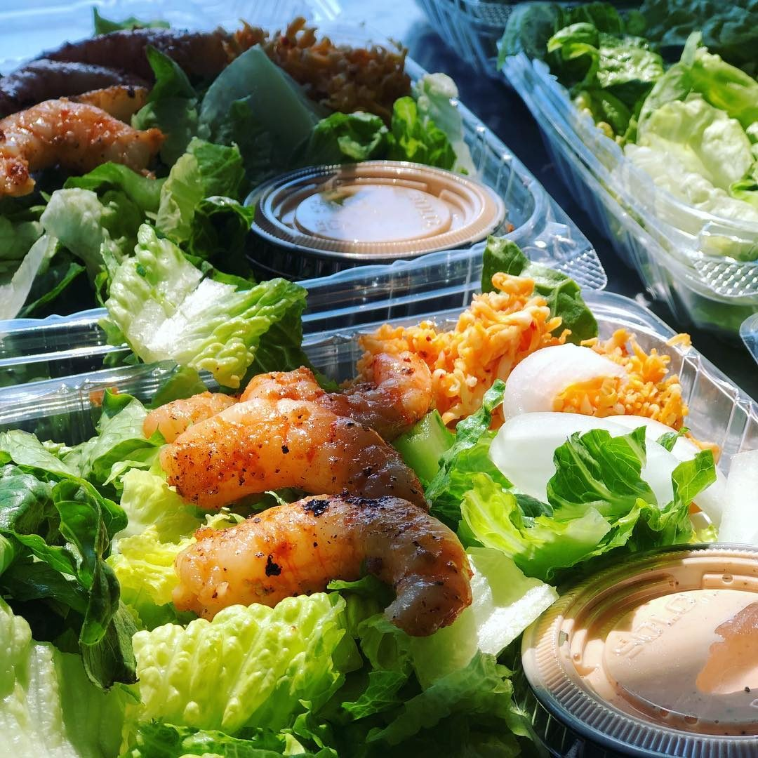 bbq shrimp salad devine salad boxes lunch delivery